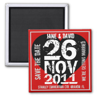 Save The Date Magnet Big Date Red