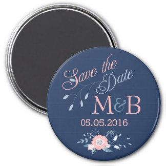 Save The Date magnet Boho wedding monogram blue