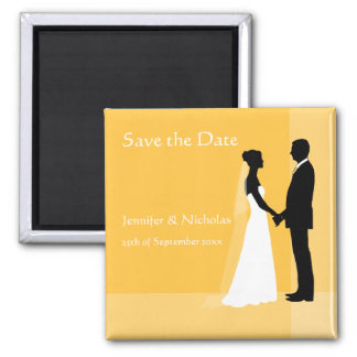 Save the Date Magnet - Bride & Groom Bright Yellow