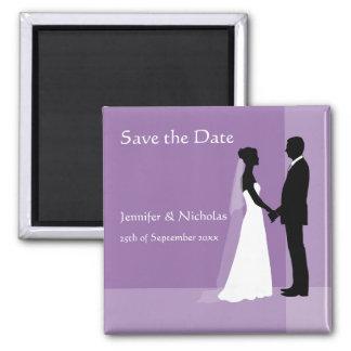 Save the Date Magnet - Bride & Groom on Purple