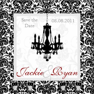 Save the Date Magnet Chandelier Black White magnet