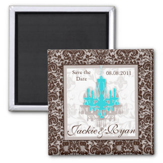 Save the Date Magnet Chandelier Blue Brown