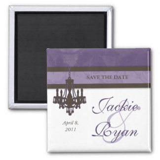 Save the Date Magnet Chandelier Purple Brown