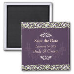 Save the Date Magnet, chandelier + vine 2 Inch Square Magnet