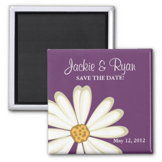 Save the Date Magnet Daisy Wedding White purple