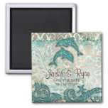 Save the Date Magnet Dolphins Couple Vintage Teal