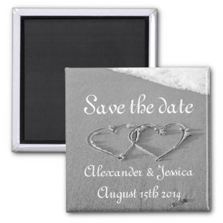 Save the date magnet | Drawn hearts in beach sand