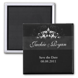 Save the Date Magnet Embellishment Black White