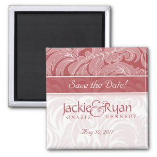 Save the Date Magnet Floral Leaf Coral Red