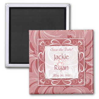Save the Date Magnet Floral Leaf Coral Red SQ