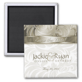 Save the Date Magnet Floral Leaf Gold 2