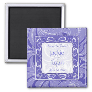 Save the Date Magnet Floral Leaf Periwinkle SQ