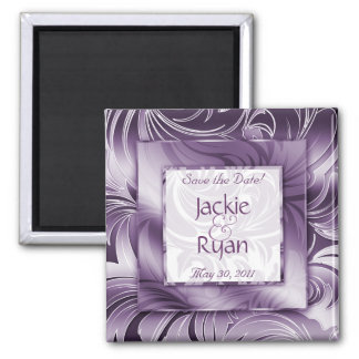 Save the Date Magnet Floral Leaf Purple Silver SQ