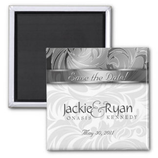 Save the Date Magnet Floral Leaf Silver 2