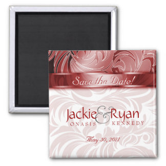 Save the Date Magnet Floral Leaf Silver Red