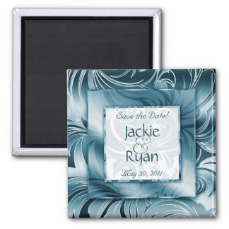 Save the Date Magnet Floral Leaf Silver Teal