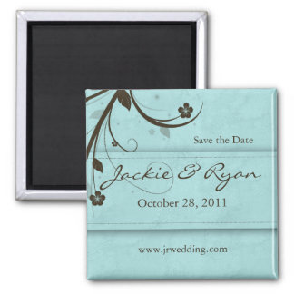 Save the Date Magnet floral watery blue