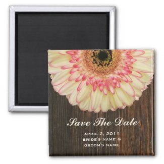Save The Date Magnet - Gerbera Daisy & Barnwood magnet