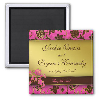 Save the Date Magnet Gold Floral Pink Brown 2