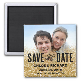 Save the Date Magnet   Gold Glitter Square