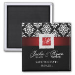 Save the Date Magnet Jewel Brooch Red Black White