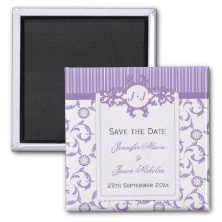 Save the Date Magnet, Lavender Stripes and Damask Magnet