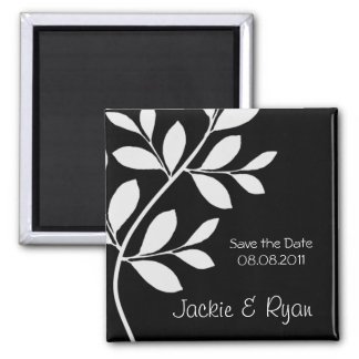 Save the Date Magnet Leaf Branch Black & White
