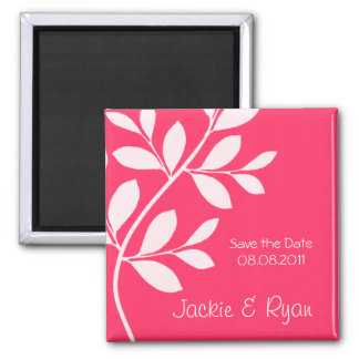 Save the Date Magnet Leaf Branch Coral Pink