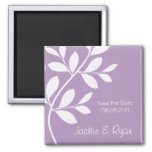 Save the Date Magnet Leaf Branch Purple