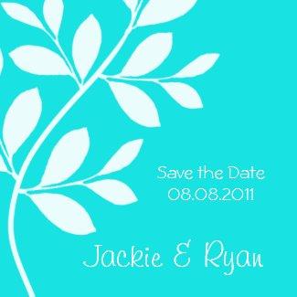 Save the Date Magnet Leaf Branch Tiffany Blue magnet