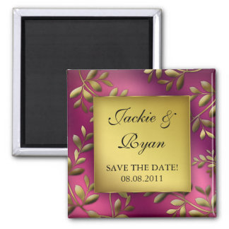 Save the Date Magnet Leaves Pink Purple Gold