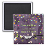 Save the Date Magnet, love birds 2 Inch Square Magnet