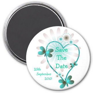 Save The Date Magnet Mint Heart And Butterflies