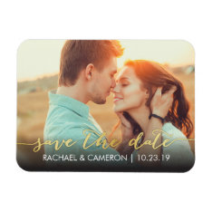 Save The Date Magnet | Modern Gold Banner at Zazzle