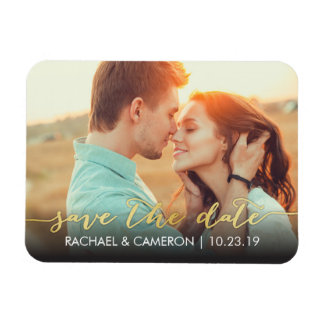 Save the Date Magnet | Modern Gold Banner
