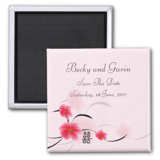 Save The Date Magnet Pink Blossom Double Happiness