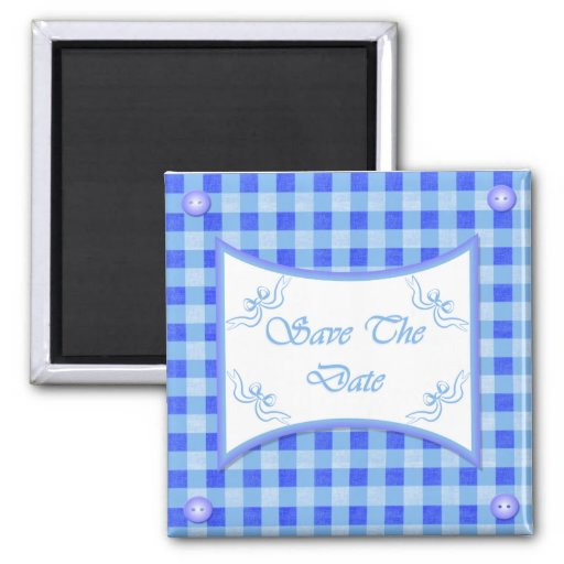 Save The Date Magnet - Powder Blue Plaid