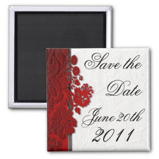 Save the Date Magnet Red Damask