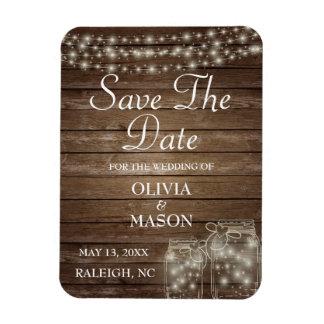 Save the Date Magnet Rustic Mason Jar Lights