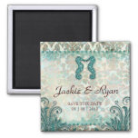 Save the Date Magnet Seahorse Couple Vintage Teal
