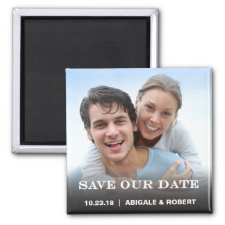 Save the Date Magnet   Simple Block Square