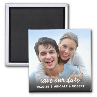 Save The Date Magnet   Simple Script Square