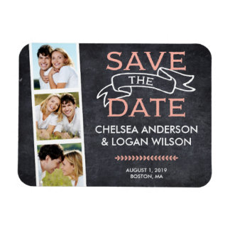 Save the Date Magnet | Snapshot Collage Pink