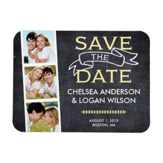 Save the Date Magnet | Snapshot Collage Yellow