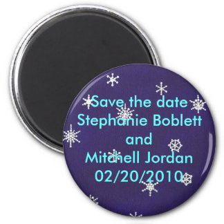 Save the date magnet, snowflakes on navy blue 2 inch round magnet
