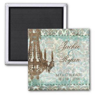 Save the Date Magnet Vintage Chandelier Green 2