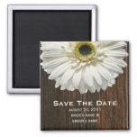 Save The Date Magnet - White Gerbera & Barnwood