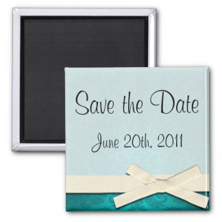 Save the Date Magnet White Ribbon