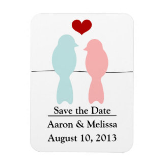 Save the date magnet with lovebirds