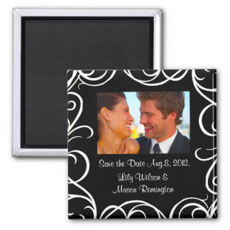 Save the Date Magnet with Swirls